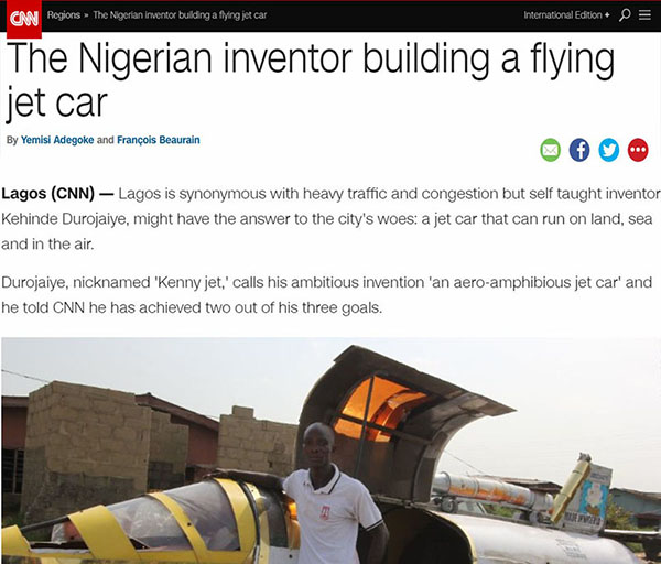 jet car, nigeria, lagos, rocket, inventor, golden